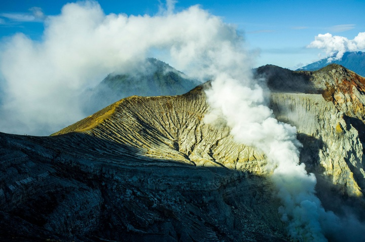 Ijen volcano's crater lake and sulphur mine in eastern Java, Indonesia.