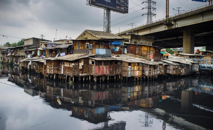 Slum in Jakarta, Java.
