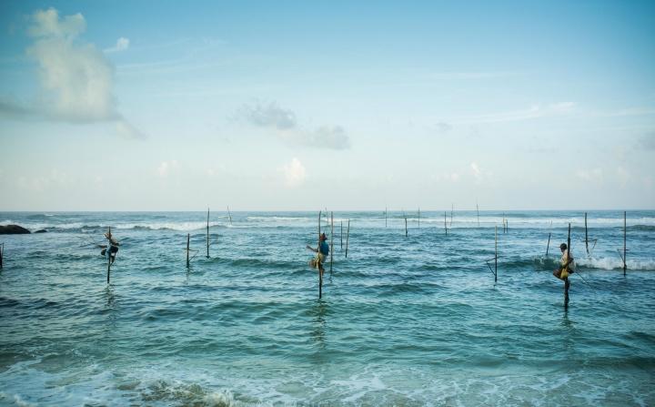 Подлинные рыбаки на сваях в нескольких метрах от берега.