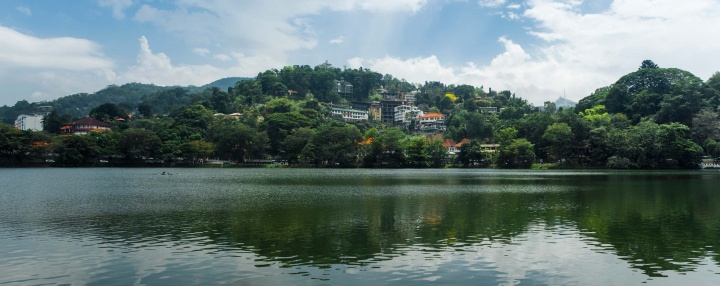 View over Kandy Lake in the central part of town.