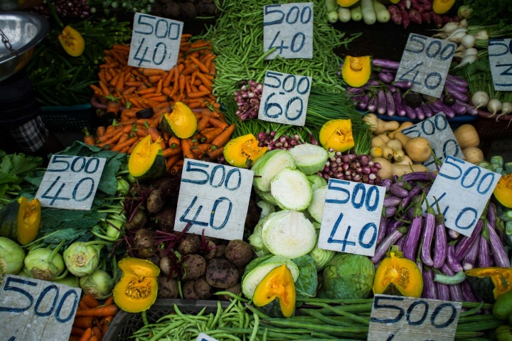 Colourful vegetable stand with price tags, outside Kandy.
