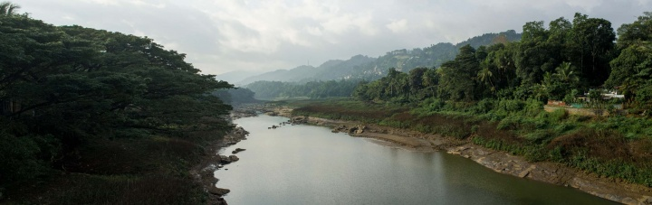 View over river from bridge outside Kandy.